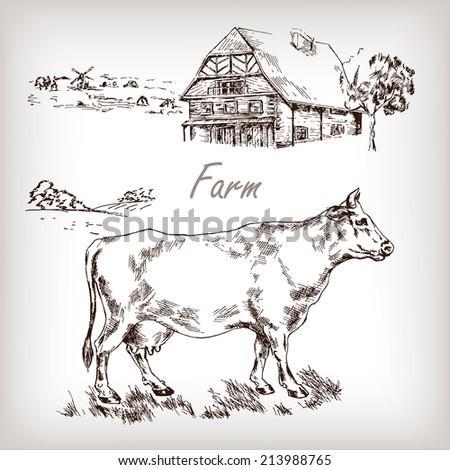 Farm set House cow homestead hand drawn vector