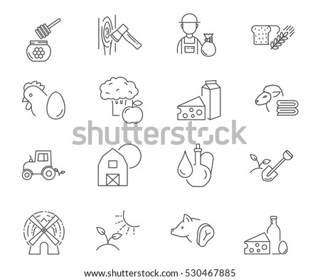 farm set of vector icons