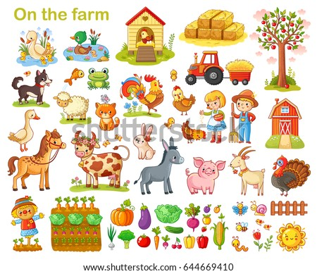 farm set with animals  pets ...