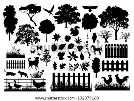 farm silhouettes