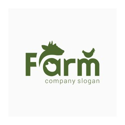 Farm simple logo. Farm animal sign. Green logotype for animal husbandry. Symbol for farm products. Brand for agricultural company. Agro business identity. Vector illustration with cow, pig, chicken an
