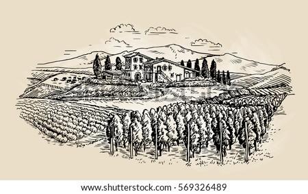 farm sketch rural landscape