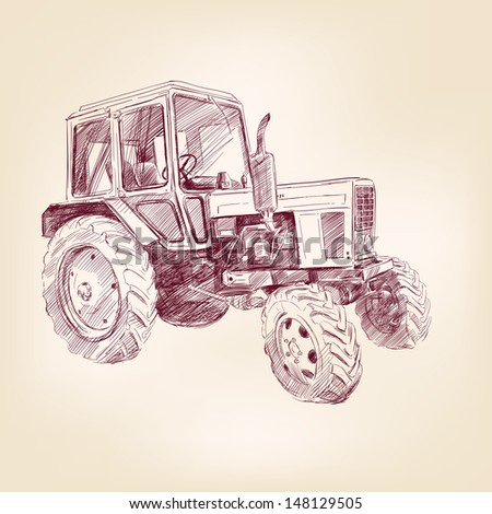 Farm tractor  hand drawn  vector illustration  realistic sketch