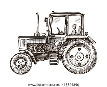 farm tractor sketch. hand drawn ...