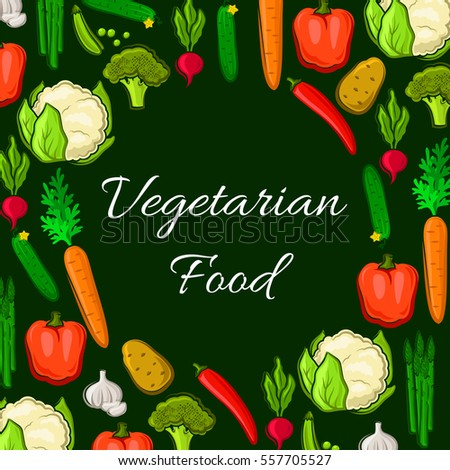 Farm vegetables poster of cauliflower and broccoli cabbage, chili and bell pepper, radish and carrot, potato and cucumber, asparagus, garlic and green pea. Vector vegetarian healthy food nutrition #557705527