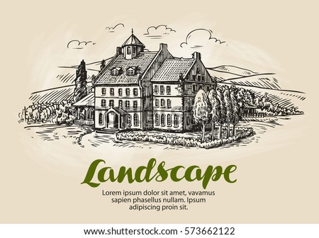 Farm, vineyard sketch. Vintage rural landscape, farming, agriculture vector illustration