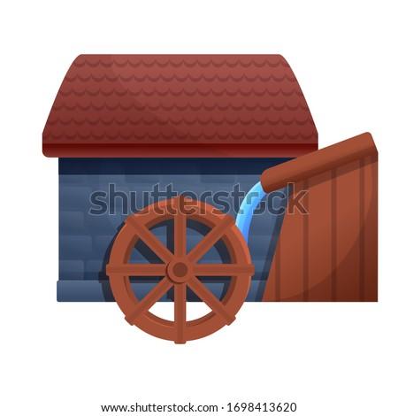 farm water mill icon cartoon