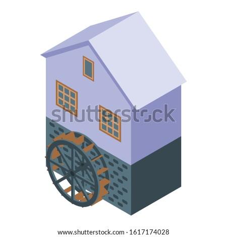 farm water mill icon isometric