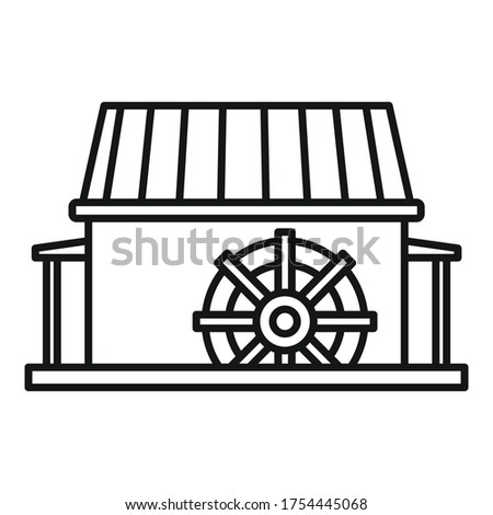 farm water mill icon outline