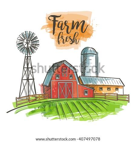 farm windmill  barn  fence