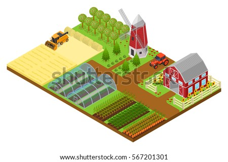 farm with building  mill and