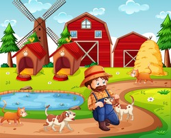 Farm with red barn and windmill scene illustration