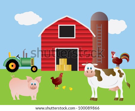 Farm With Red Barn Tractor Pig Cow Chicken Animals Illustration