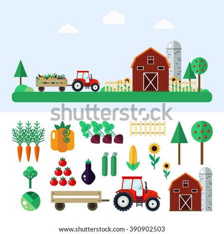 farm with tractor  vegetables ...