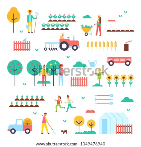 Farm workers, special machines and green plants. Farm themed colorful icons. Trees with ripe fruits and rows of vegetables vector illustrations set.