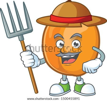 Farmer apricot cartoon character for nutritious maskot
