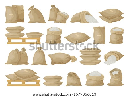 Farmer bag vector illustration on white background. Isolated cartoon set icon grain sack .Vector cartoon set icon farmer bag. Stock photo ©