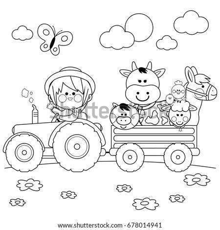 farmer boy driving a tractor