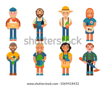 Farmer character man agriculture person profession rural gardener worker farming people vector illustration. Foto d'archivio ©