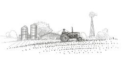 Farmer driving a tractor in the field near the farm hand drawn illustration. Vector.