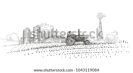 farmer driving a tractor in the ...