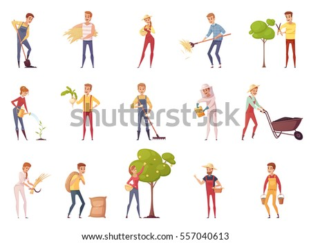 Farmer gardener cartoon people characters set of isolated young male and female figures with gardening equipment vector illustration