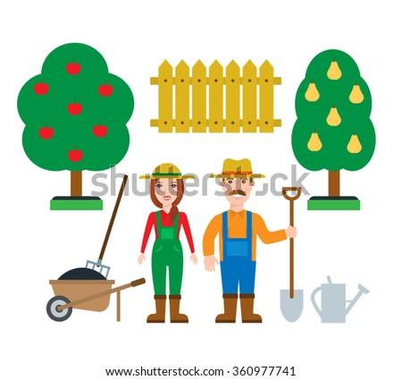 farmer gardener man and woman