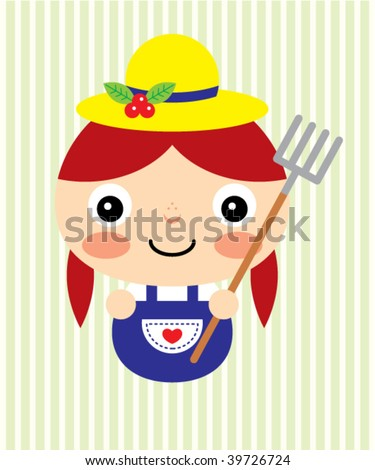 cartoon girl farmer. stock vector : farmer girl
