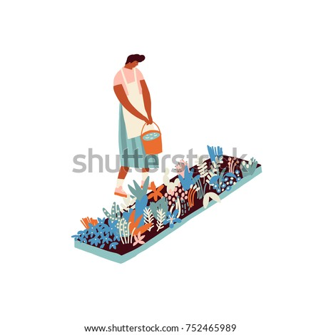 Farmer girl growing vegetables and flowers in the garden illustration in vector.