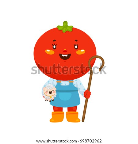 Farmer girl Tomato, shepherdess with sheep, cartoon character, vector, isolated illustration on a white background.
