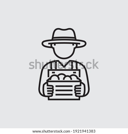 Farmer Holding Box Vector Line Icon Photo stock ©