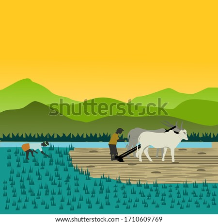 farmer in dusk preparing land