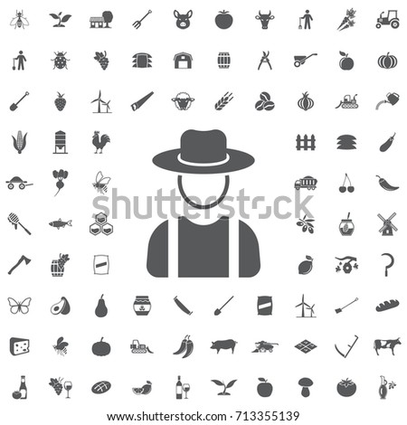 Farmer in hat, village man icon on the white background. Farm set of icons
