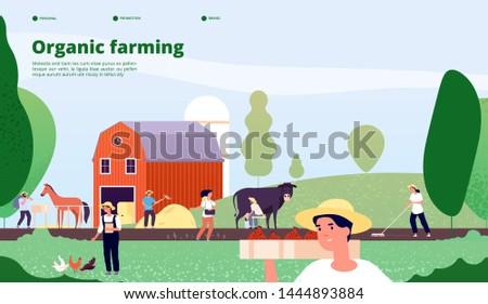 Farmer landing page. Agricultural workers work with equipment in nature, agriculture and organic farming vector concept. Farmer agriculture, farm work agricultural illustration