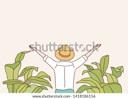 Farmer looking to sunrise into horizon with some straw hat ahead. Concept of rural simple life. Hand drawn style vector design illustrations.