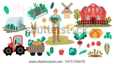 Farmer man with harvest. Farm red house with greenhouse and vegetable garden. Tractor with trailer and crop. Vector illustration, cartoon flat style. Funky people