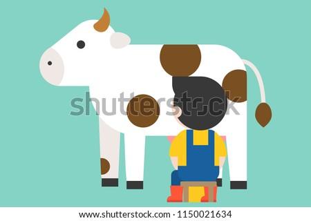 farmer milking cow vector, flat design