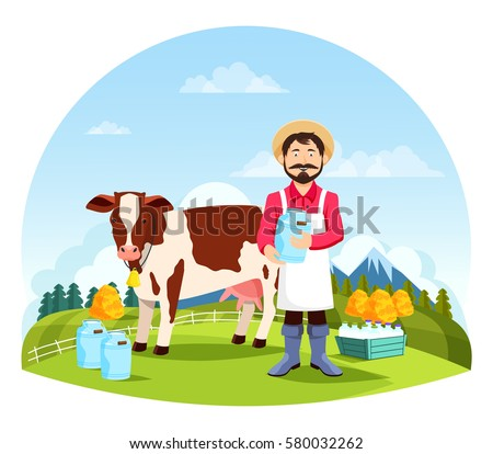 farmer near cow and bottles of