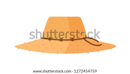 Farmer or agricultural worker straw hat with with wide brim and rope isolated on white background. Woven headdress or headgear. Decorative design element. Vector illustration in flat cartoon style.