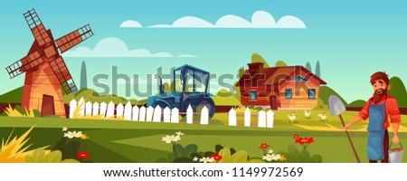 Farmer or peasant vector illustration of man with beard and spade at farmland. Vector windmill, house or barn and agriculture tractor with chickens on cartoon green field background