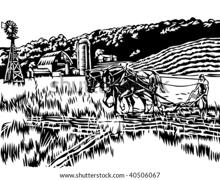 Farmer plowing field illustration