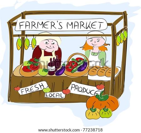 Vintage Farmers Market Sign Farmer'S Market. Stock...