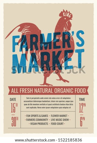 Farmer's market poster flyer design with red rooster silhouette. Vintage styled vector illustration.