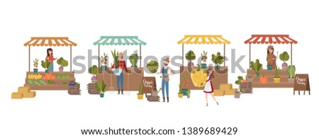 Farmer's market poster with people selling and shopping at walking street, organic fruits and vegetables, cartoon flat design. Editable vector illustration ストックフォト ©