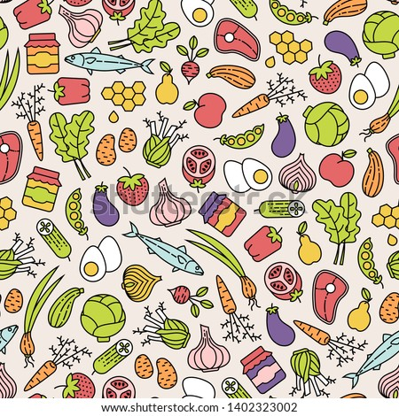 Farmer's market seamless pattern with colorful line icons. Fruits, vegetables, honey, eggs, meat and fish