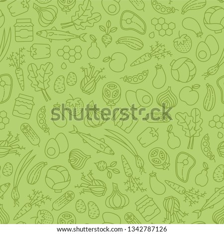 Farmer's market seamless pattern with line icons. Fruits, vegetables, honey, eggs, meat and fish