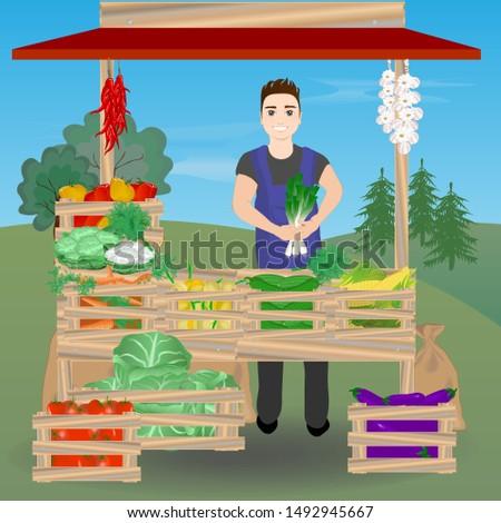 Farmer sells vegetables at the market. Vector illustration.
