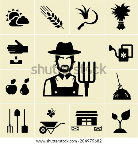Farmer surrounded by farming themed icons on light background