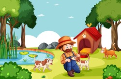 Farmer with animal farm in farm scene in cartoon style illustration