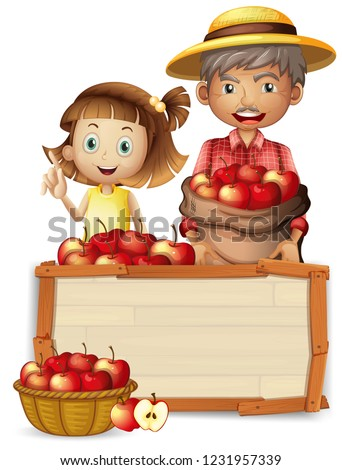 farmer with apple on wooden
